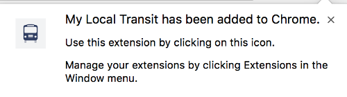 My Local Transport added Chrome